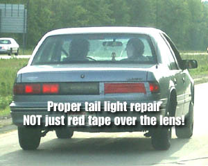 Duct tape on a roll august 2003 edition fixin yer tail weve seen a lot of tail lights fixed with red duct tape just taped over the broken lens area while this may look like a good fix aloadofball Image collections